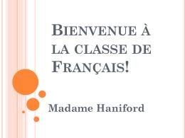 Bienvenue à la classe de Français!