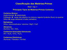 Classificação das Matérias-Primas Como esta matéria