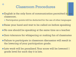 Classroom Procedures - Yanique`s Global Classrooms